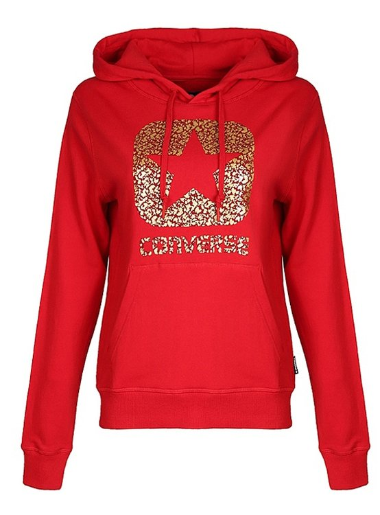 Mikina CONVERSE - GRAPHIC BOXSTAR PULLOVER HOODIE \ Red