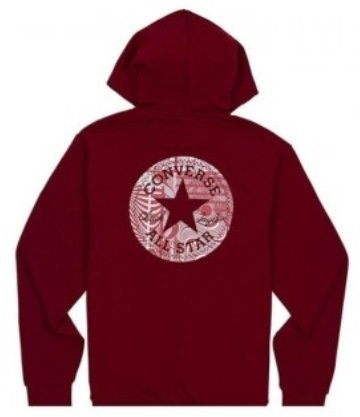 Mikina CONVERSE - CHUCK PATCH GRAPHIC FZ ZIP HOODIE / Back Alley Brick