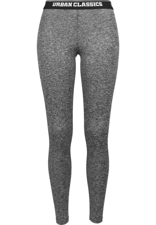 Legíny URBAN CLASSICS - LADIES ACTIVE MELANGE LOGO LEGGINS Charcoal \ White \ Black