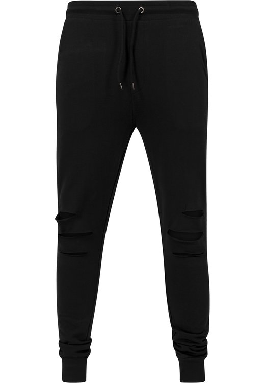 Tepláky URBAN CLASSICS - CUTTED TERRY PANTS \ Black