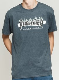 Tričko THRASHER - RIPPED TEE S/S  Dark Heather